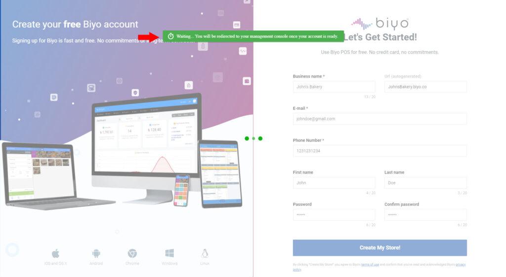 Biyo POS Store is being created
